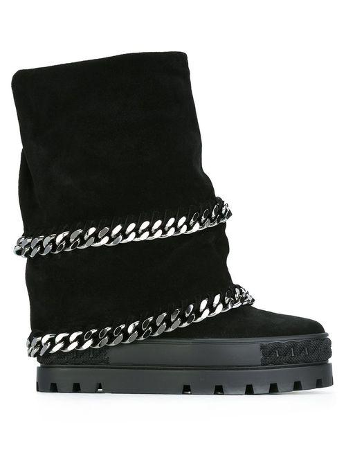 Casadei | Женские Чёрные Ботинки С Отделкой Молнией