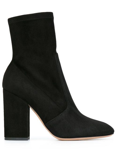 Valentino | Женские Чёрные Ботинки На Массивном Каблуке