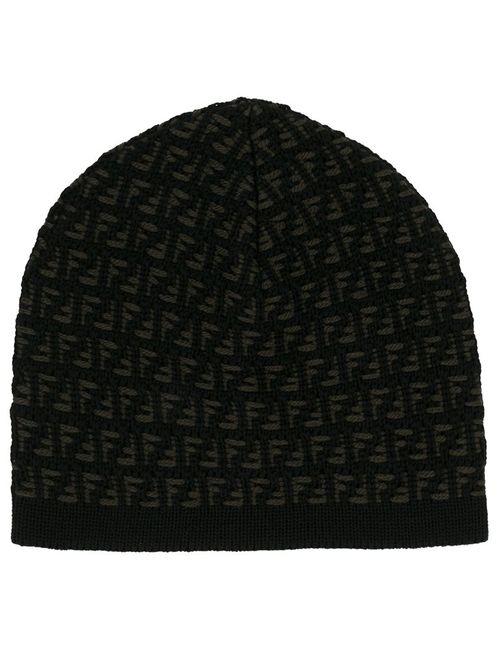 Fendi   Мужская Чёрная Шапка С Логотипом Ff