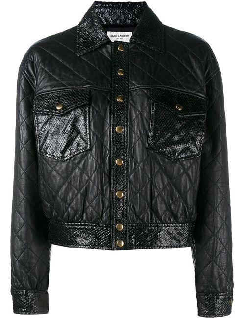 Saint Laurent | Женская Черный Укороченная Стеганая Куртка