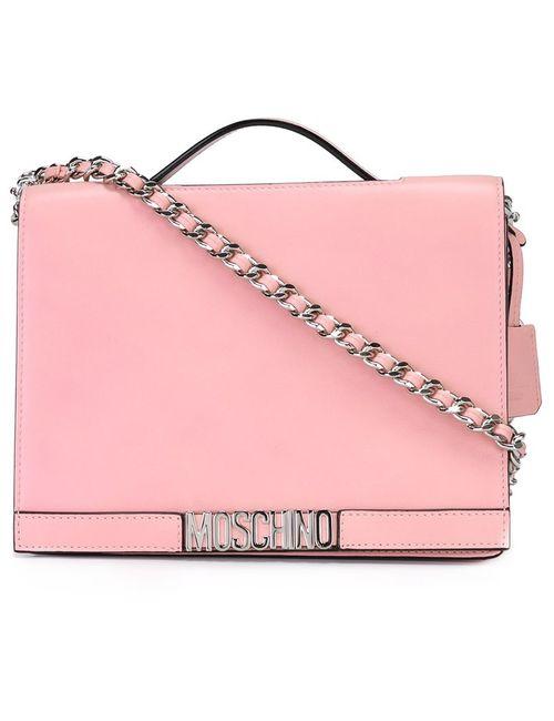 Moschino | Розовый Logo Plaque Shoulder Bag