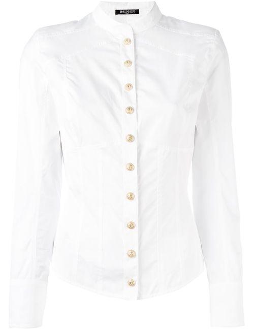 Balmain | Женская Белая Рубашка Без Воротника
