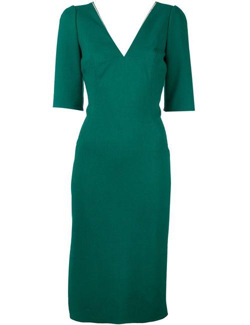 Dolce & Gabbana | Женское Зелёное Платье C V-Образным Вырезом