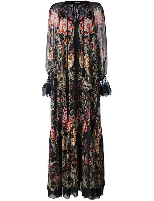 Roberto Cavalli | Женское Чёрное Платье С Цветочным Узором