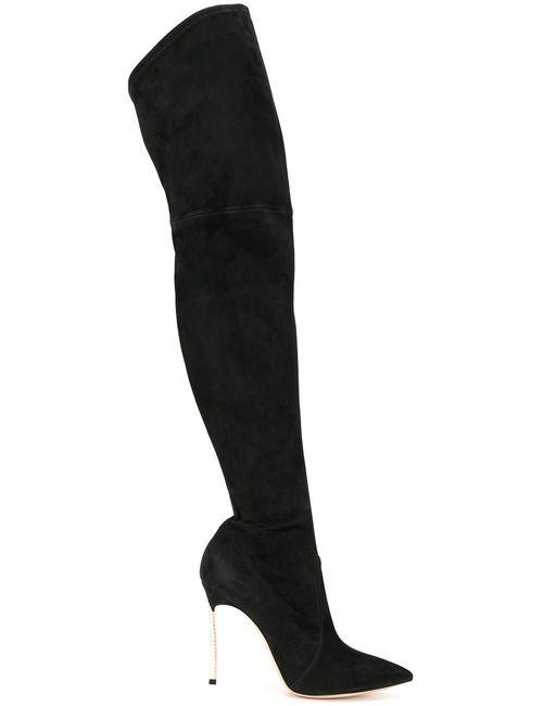 Casadei | Женские Чёрные Сапоги С Декорированными Каблуками