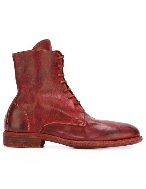 GUIDI | Мужские Красные Ботинки С Закругленным Носком