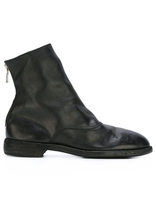 GUIDI | Мужские Чёрные Ботинки С Закругленным Носком