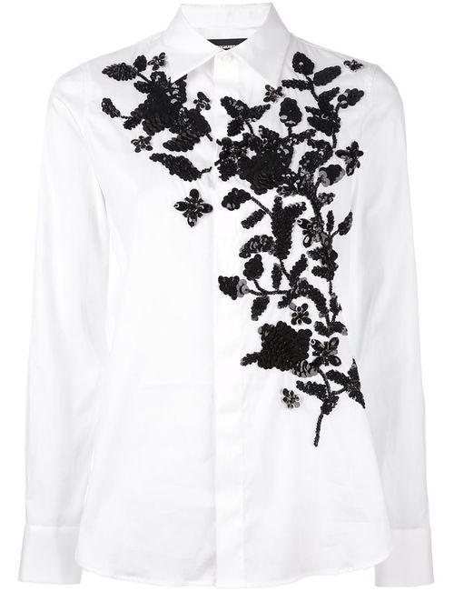 Dsquared2 | Женская Белая Рубашка С Вышивкой