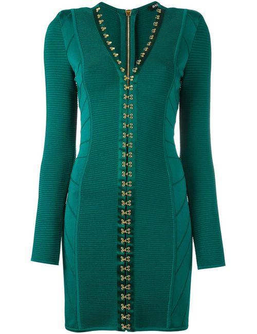 Balmain | Женское Зелёное Облегающее Платье С V-Образным Вырезом