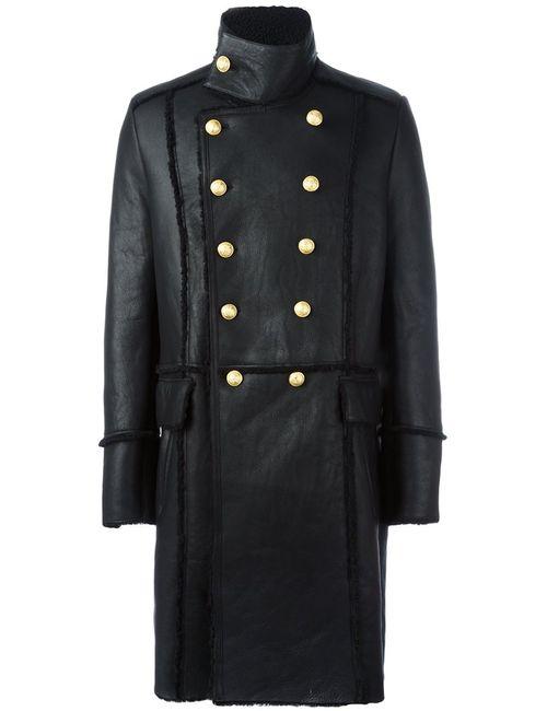 Balmain | Мужское Чёрный Двубортное Пальто Из Овчины