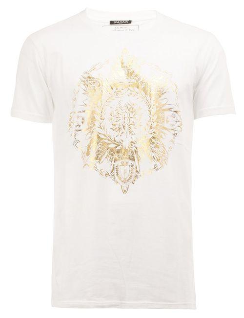 Balmain | Мужское Белый Round Crest T-Shirt