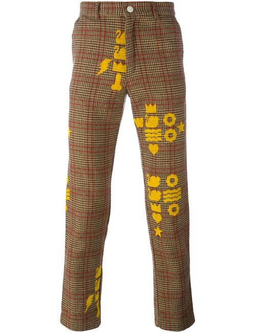 WALTER VAN BEIRENDONCK VINTAGE   Nude & Neutrals Printed Checked Trousers