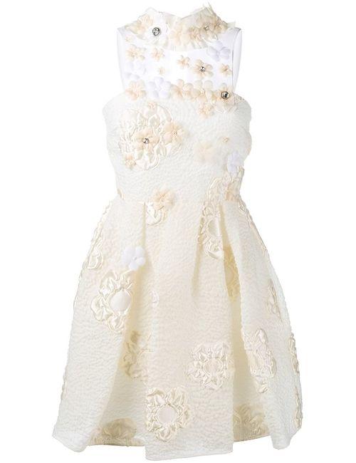 Fendi | Женское Nude & Neutrals -Appliquéd Embellished Cloqué Mini Dress