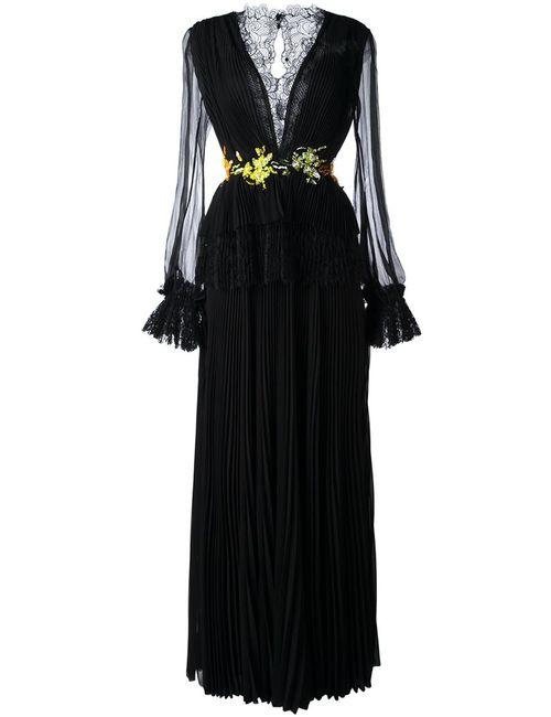 Ermanno Scervino | Женское Чёрное Плиссированное Платье С Кружевной Отделкой