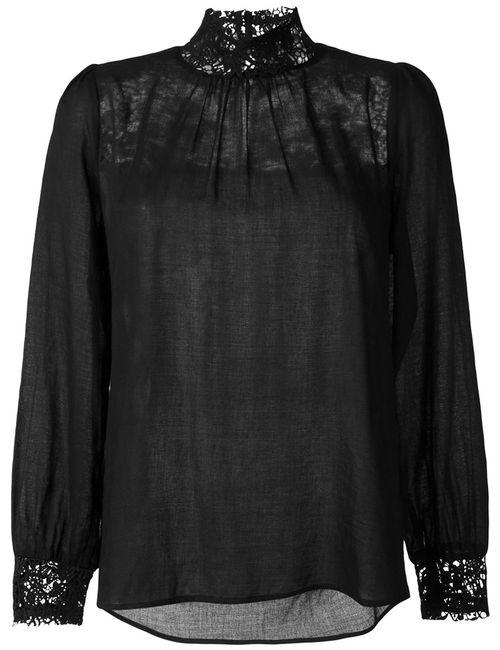 Masscob | Женская Чёрная Блузка С Кружевными Вставками