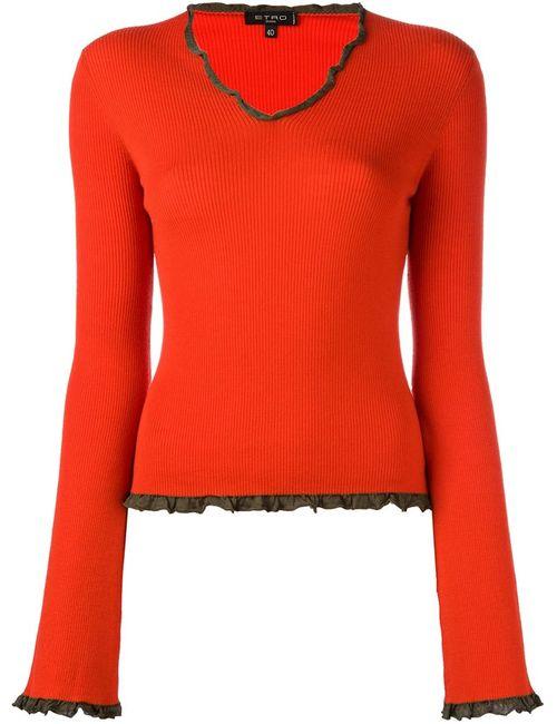Etro | Женский Красный Джемпер С Оборочной Окантовкой
