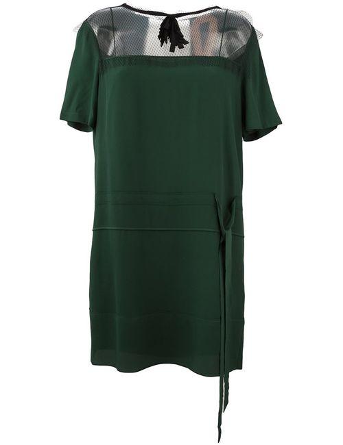 No21 | Женское Зелёное Платье Шифт С Прозрачной Панелью