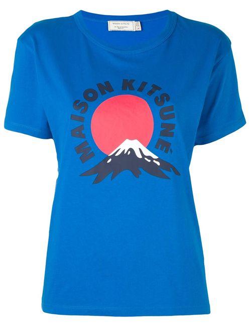 Maison Kitsune   Женская Синяя Футболка Mont Fuji