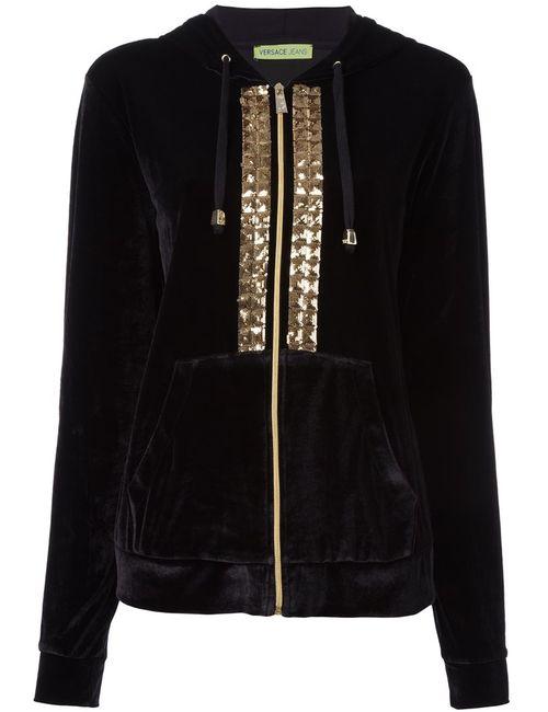 Versace Jeans | Женское Черный Sequin Embroidered Velour Hoodie