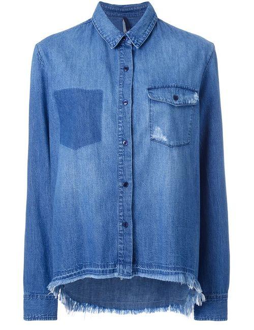Nobody Denim | Женская Синяя Рубашка С Неравномерным Подолом