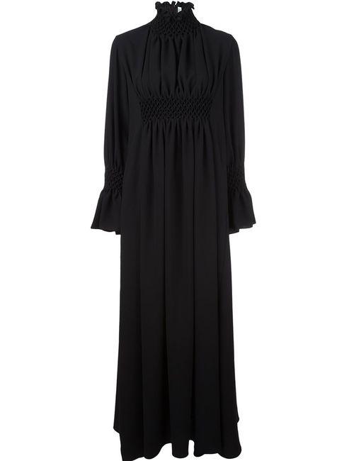 Kenzo | Женское Чёрное Длинное Платье С Высоким Горлом