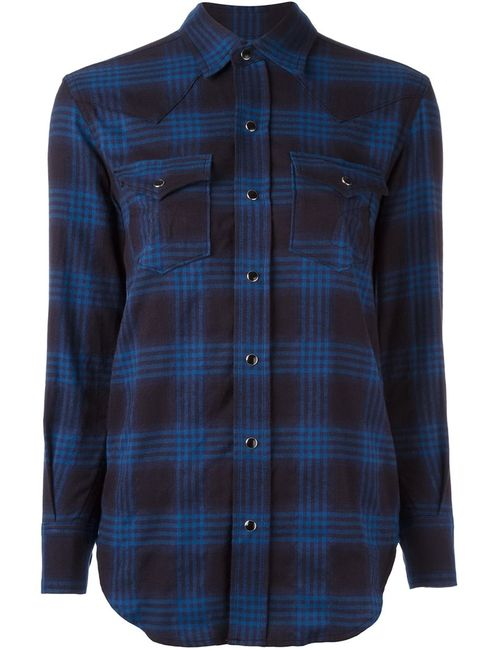 Saint Laurent | Женское Синий Checked Western Shirt