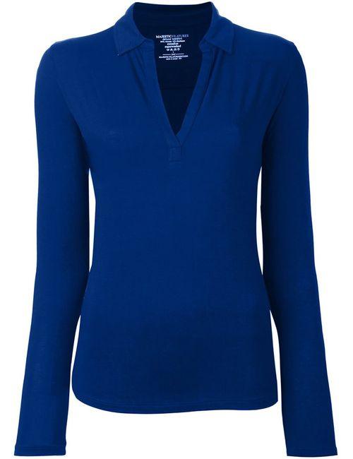 MAJESTIC FILATURES   Женская Синяя Рубашка С V-Образным Вырезом