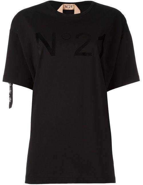 No21 | Женская Чёрная Футболка С Логотипом И Стразами