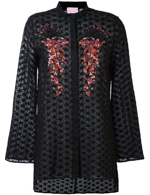 GIAMBA | Женская Чёрная Рубашка С Вышивкой