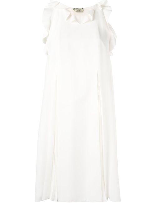 Fendi | Женское Nude & Neutrals Ruffled Trim Dress