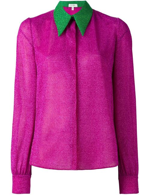 Delpozo | Женская Розовая Рубашка С Контрастным Воротником