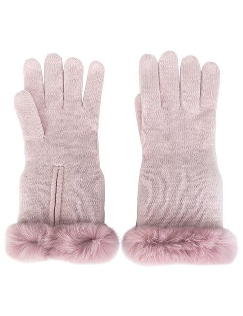 N.PEAL | Женские Розовые Перчатки С Меховой Отделкой