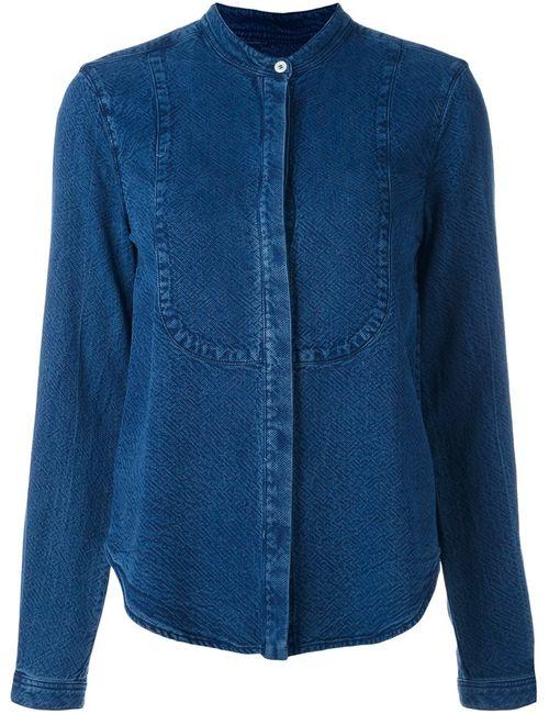 YMC | Женская Синяя Рубашка Без Воротника С Джинсовым Эффектом