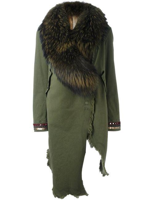BAZAR DELUXE | Женское Зелёное Асимметричное Пальто С Декорированными Рукавами