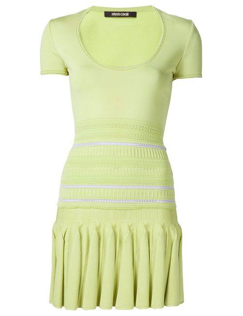 Roberto Cavalli | Женское Зелёное Трикотажное Мини-Платье