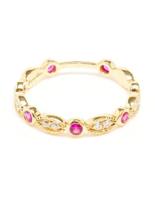 YVONNE LEON   Красный Yvonne Léon Antique Diamond And Ruby Ring