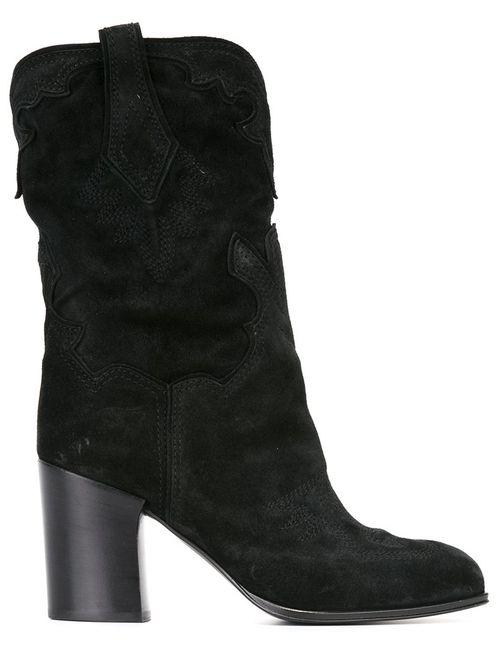 Casadei | Женские Чёрные Ботинки До Середины Голени