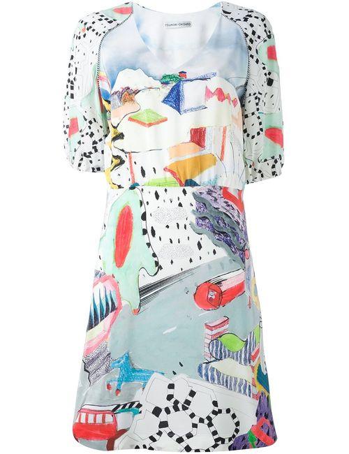 Tsumori Chisato | Женское Многоцветное Платье С Рисунком И Рукавами-Баллон