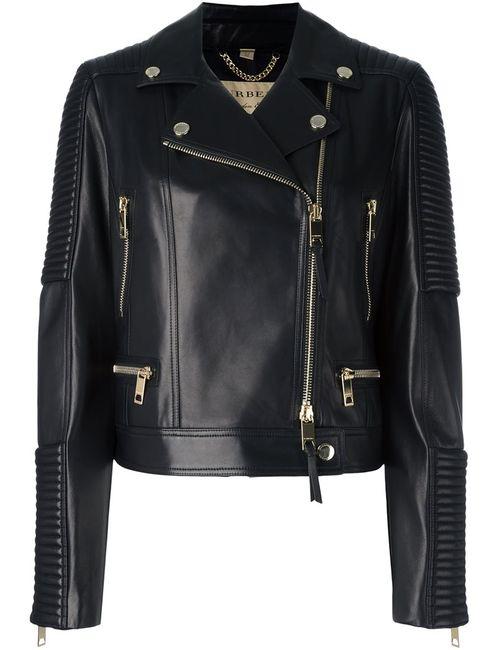 Burberry | Женская Чёрная Байкерская Куртка На Молнии