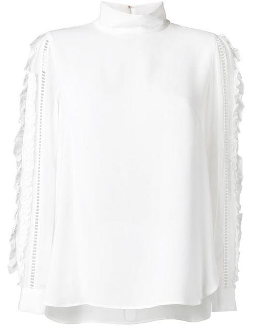 Muveil | Женская Белая Блузка С Отделкой На Рукавах