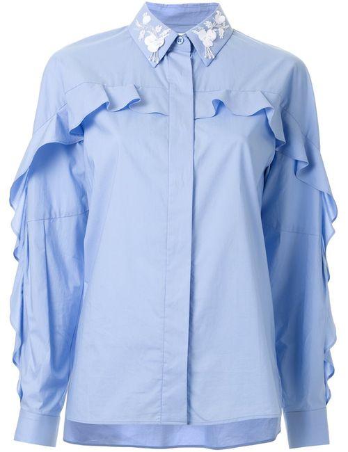 Muveil | Женская Синяя Рубашка С Украшениями На Воротнике