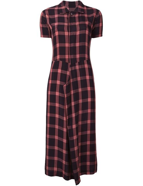 Comme Des Garcons | Женское Чёрное Платье-Рубашка В Клетку