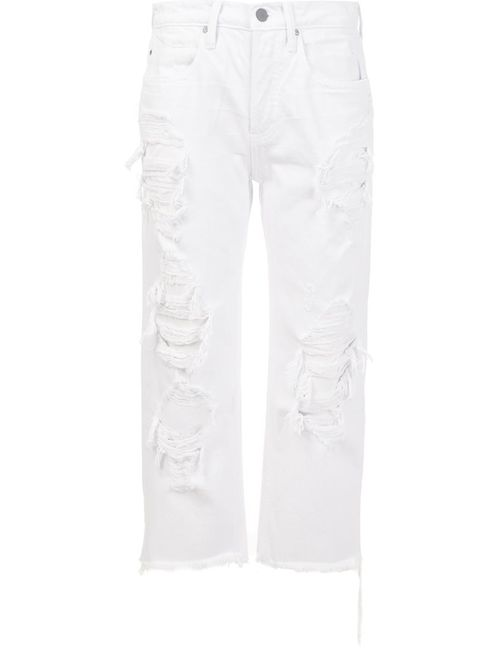 Alexander Wang | Женское Белый Distressed Cropped Jeans
