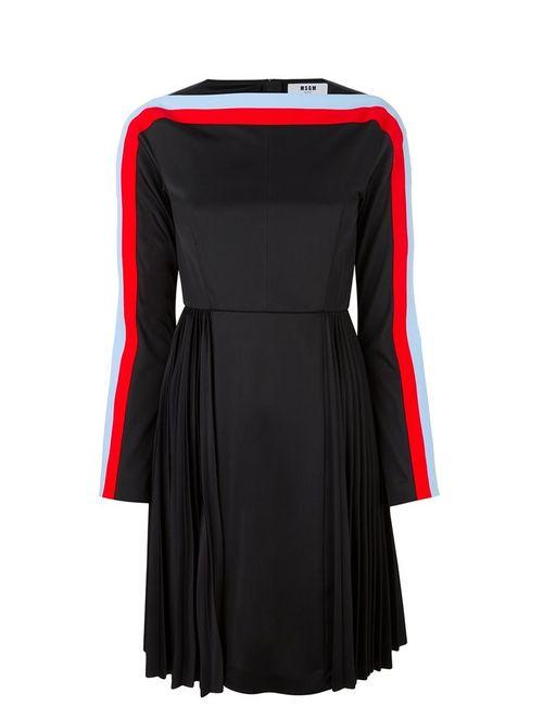 MSGM | Женское Чёрное Платье С Плиссированной Юбкой И Длинными Рукавами