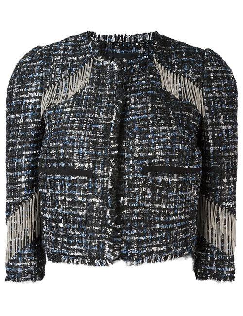 Marco Bologna   Женская Чёрная Укороченная Куртка С Бахромой