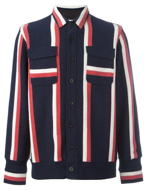 Sacai | Мужское Синий Striped Shirt Jacket