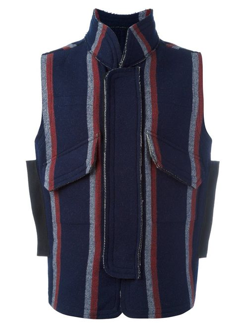 Sacai   Мужское Синий Striped Gilet