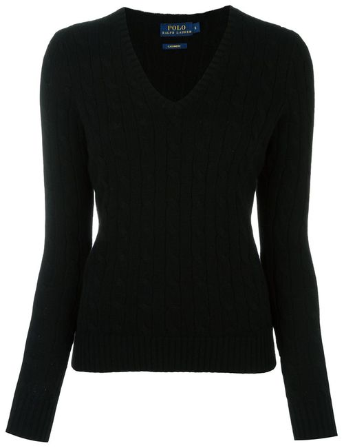 Polo Ralph Lauren | Женское Чёрный Cable Knit V Neck Jumper