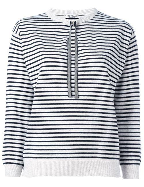 Brunello Cucinelli | Женское Серый Striped Fine Knit Jumper