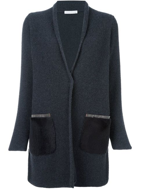 Fabiana Filippi | Женское Серый Long Contrast Pocket Cardi-Coat